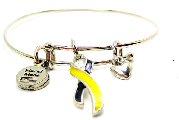 Down Syndrome Awareness Ribbon Expandable Bangle Bracelet