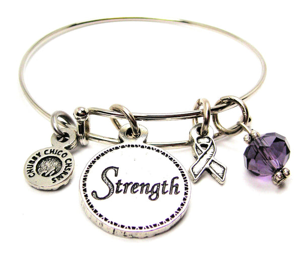 Strength With Awareness Ribbon Expandable Bangle Bracelet