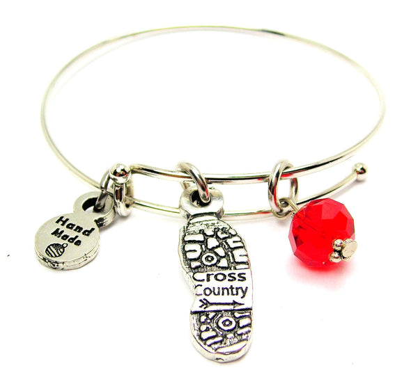 Cross Country Shoe Print Expandable Bangle Bracelet