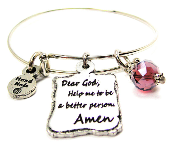 Dear God Help Me To Be A Better Person Amen Expandable Bangle Bracelet