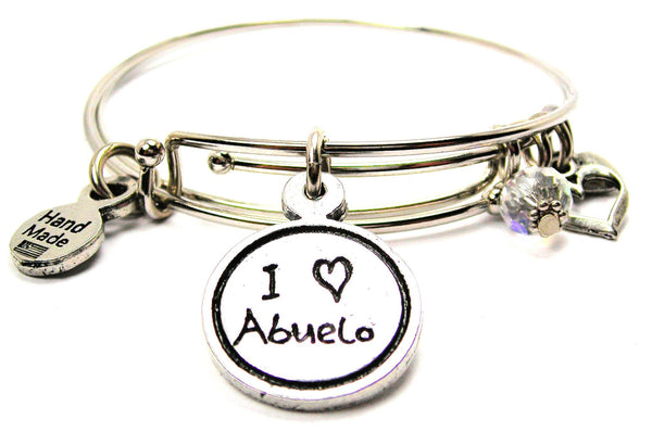 I Love Abuelo Child Handwriting Expandable Bangle Bracelet