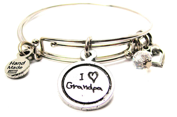 I Love Grandpa Child Handwriting Expandable Bangle Bracelet