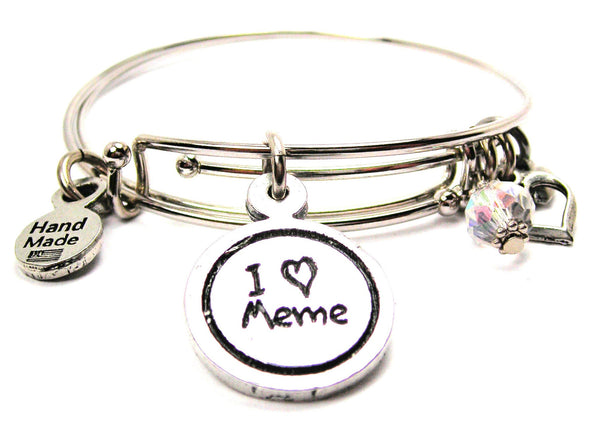 I Love Meme Child Handwriting Expandable Bangle Bracelet