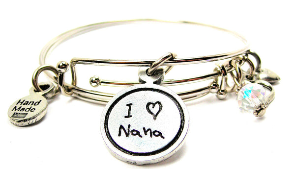 I Love Nana Child Handwriting Expandable Bangle Bracelet
