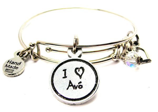 I Love Avó Grandmother Child Handwriting Expandable Bangle Bracelet