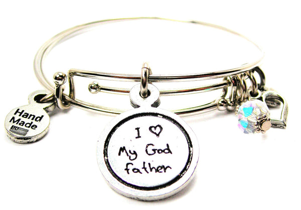 I Love My Godfather Child Handwriting Expandable Bangle Bracelet