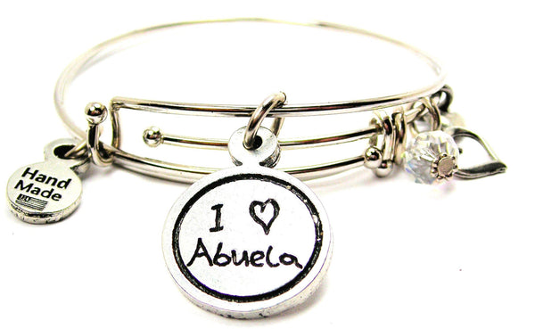 I Love Abuela Child Handwriting Expandable Bangle Bracelet