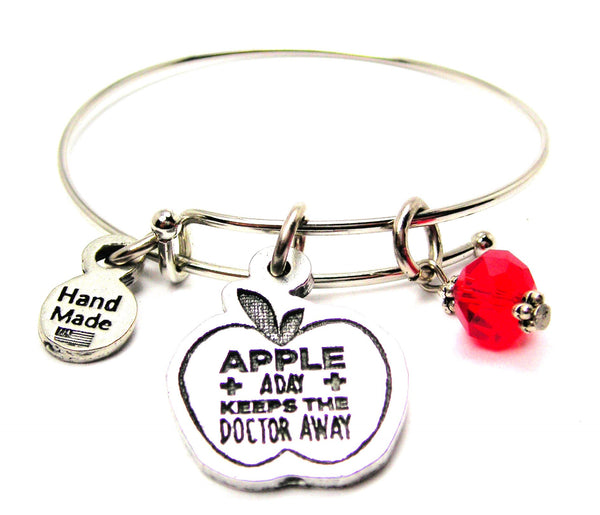 Apple A Day Keeps The Doctor Away Expandable Bangle Bracelet