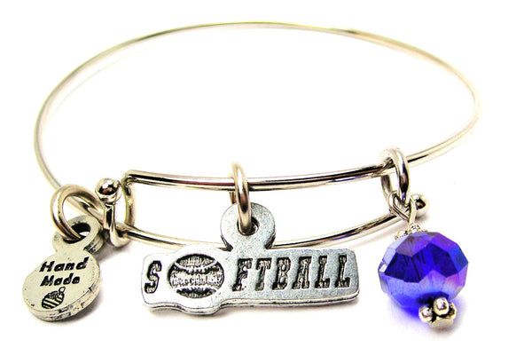 Softball Tab With Softball Expandable Bangle Bracelet