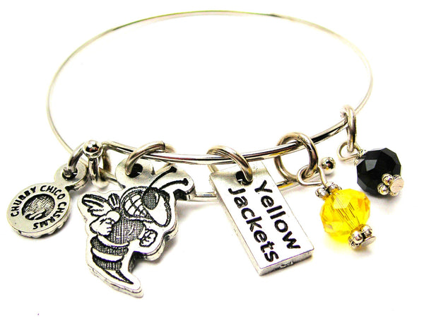 Yellow Jacket With Yellow Jackets Tab Expandable Bangle Bracelet