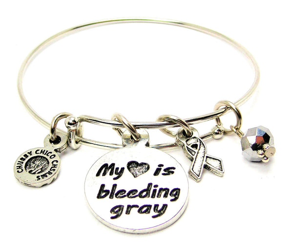 My Heart is Bleeding Gray with Awareness Ribbon Bangle Bracelet