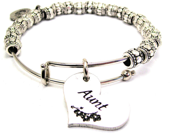 Aunt Heart Metal Beaded Bracelet