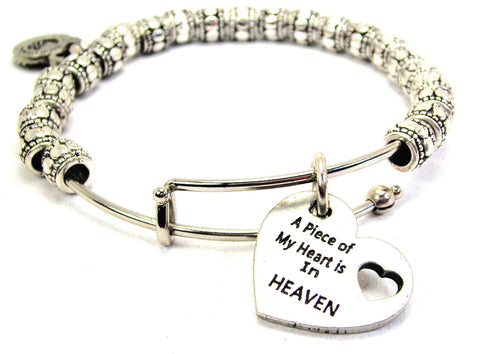 A Piece Of My Heart Is In Heaven Metal Beaded Bracelet