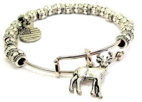 Adorable Deer Buck Metal Beaded Bracelet