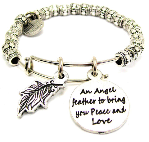 An Angel Feather To Bring You Peace And Love With Angel Feather Metal Beaded Bracelet