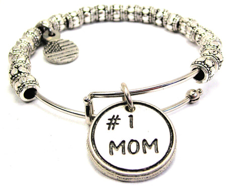 #1 Mom Metal Beaded Bracelet