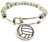 Volleyball Metal Beaded Bracelet