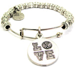 Love With Field Hockey Sticks Metal Beaded Bracelet