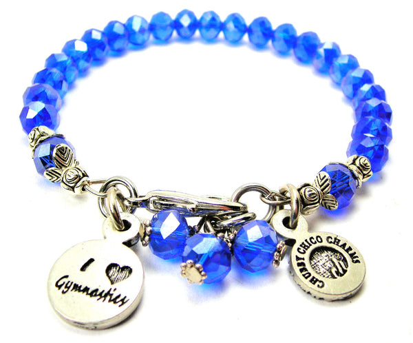 I Love Gymnastics Splash Of Color Crystal Bracelet