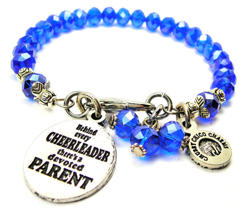 Behind Every Cheerleader There's A Devoted Parent Splash Of Color Crystal Bracelet