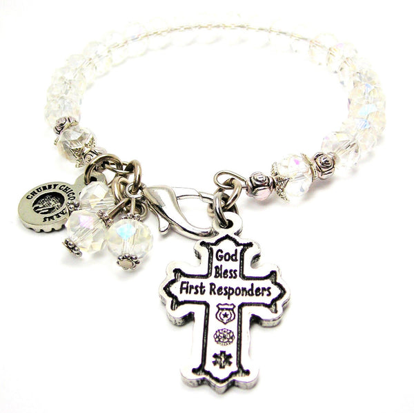 God Bless First Responders Splash Of Color Crystal Bracelet