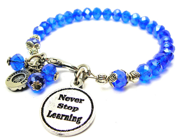 Never Stop Learning Splash Of Color Crystal Bracelet