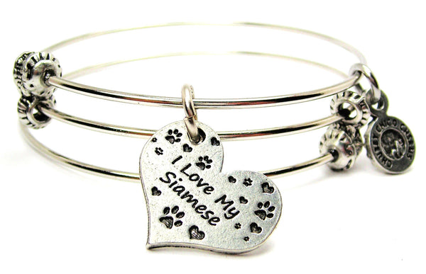 I Love My Siamese Triple Style Expandable Bangle Bracelet