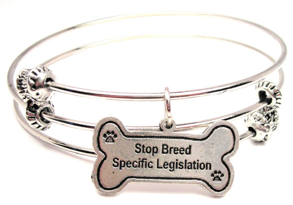 Stop Breed Specific Legislation Triple Style Expandable Bangle Bracelet
