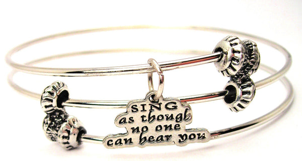 Sing As Though No One Can Hear You Triple Style Expandable Bangle Bracelet