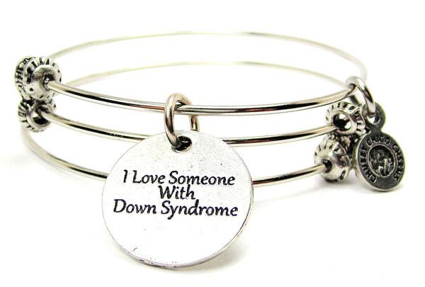 I Love Someone With Down Syndrome Triple Style Expandable Bangle Bracelet