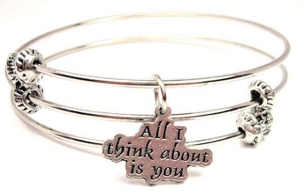 All I Think About Is You Triple Style Expandable Bangle Bracelet