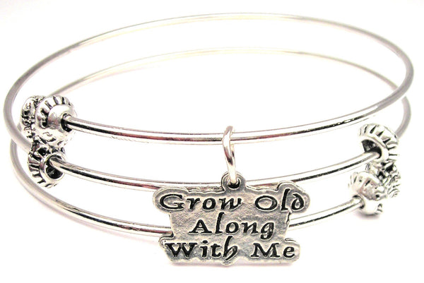 Grow Old Along With Me Triple Style Expandable Bangle Bracelet