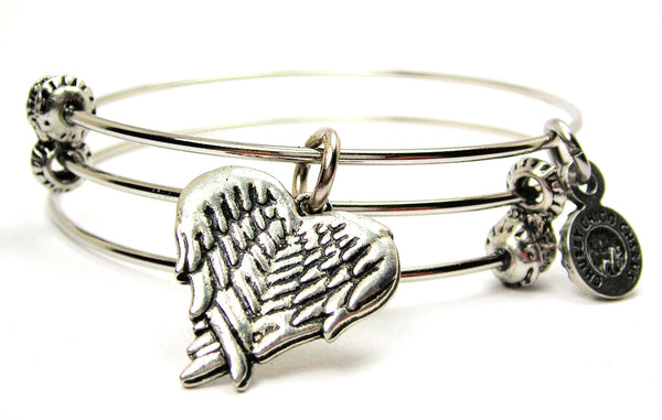 Wings Folded Into A Heart Shape Triple Style Expandable Bangle Bracelet