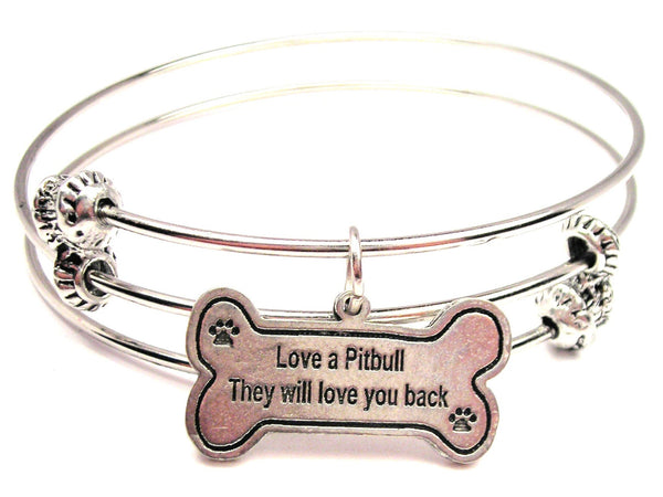 Love A Pit Bull They Will Love You Back Triple Style Expandable Bangle Bracelet