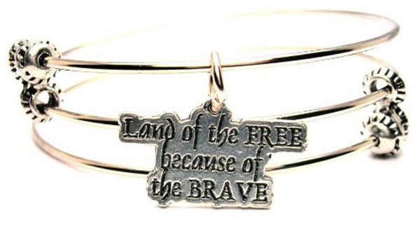 Land Of The Free Because Of The Brave Triple Style Expandable Bangle Bracelet