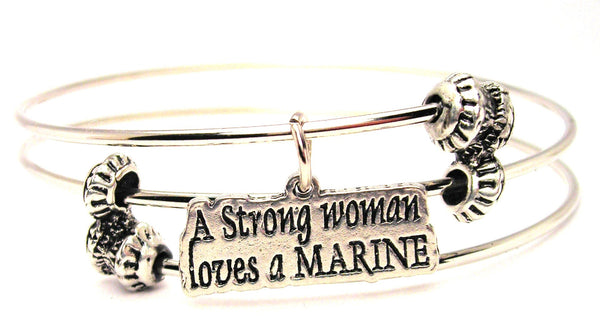 A Strong Woman Loves A Marine Triple Style Expandable Bangle Bracelet