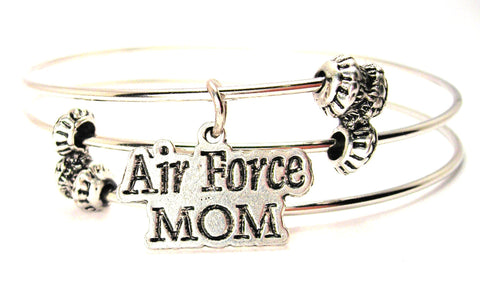 Air Force Mom Triple Style Expandable Bangle Bracelet