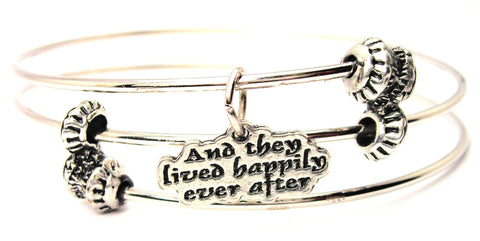 And They Lived Happily Ever After Triple Style Expandable Bangle Bracelet