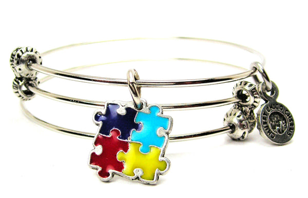 Autism Puzzle Pieces Hand Painted Triple Style Expandable Bangle Bracelet