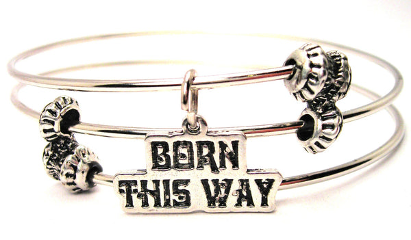 Born This Way Triple Style Expandable Bangle Bracelet