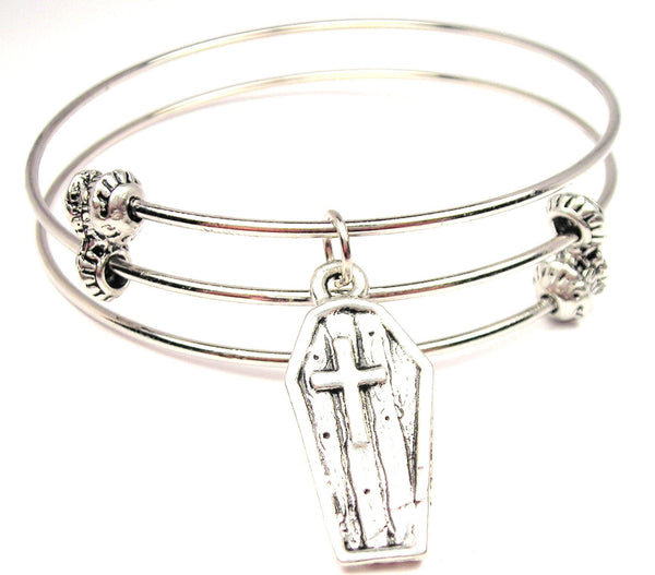 Coffin With Cross Triple Style Expandable Bangle Bracelet