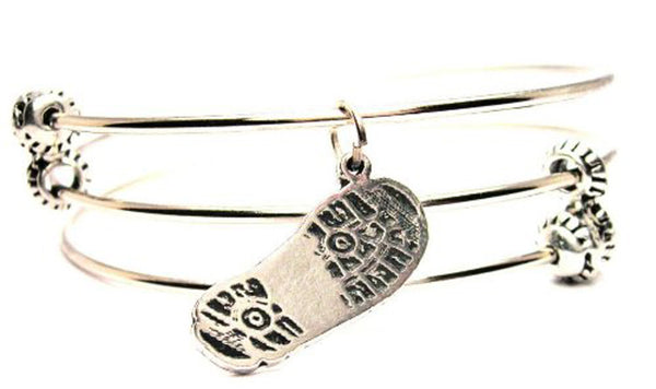 Combat Boot Print Triple Style Expandable Bangle Bracelet