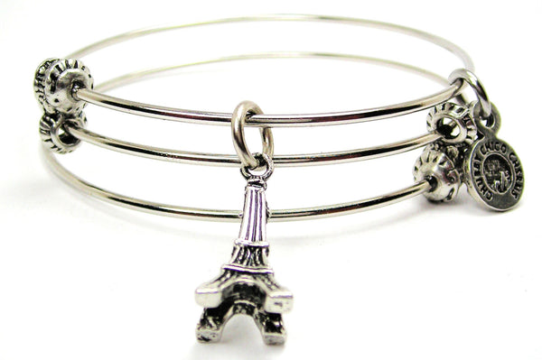 Eiffel Tower Triple Style Expandable Bangle Bracelet
