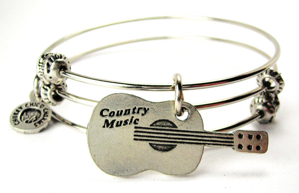 Country Music Guitar Triple Style Expandable Bangle Bracelet