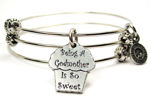 Being A Godmother Is So Sweet Triple Style Expandable Bangle Bracelet