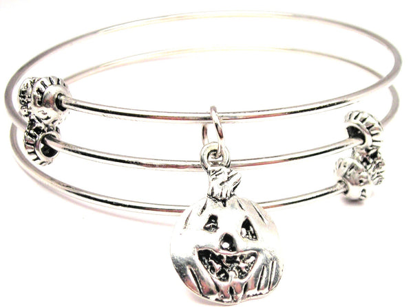 Jack O Lantern Triple Style Expandable Bangle Bracelet