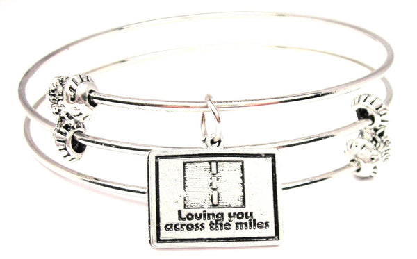 Loving You Across The Miles Triple Style Expandable Bangle Bracelet