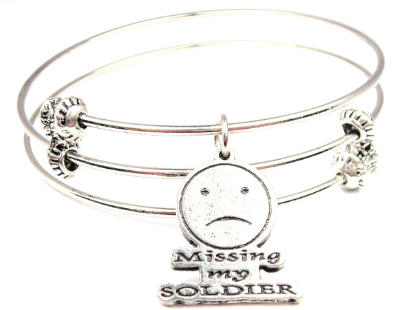 Missing My Soldier Triple Style Expandable Bangle Bracelet