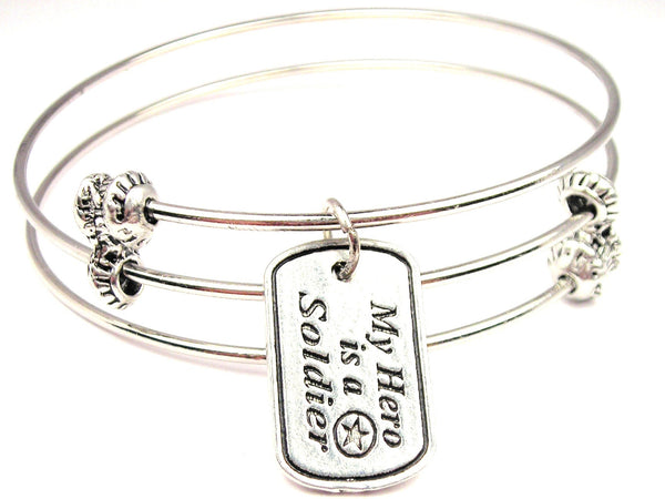 My Hero Is A Soldier Triple Style Expandable Bangle Bracelet