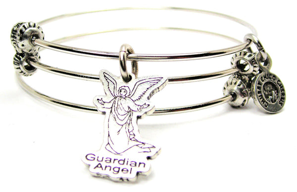 Guardian Angel Triple Style Expandable Bangle Bracelet